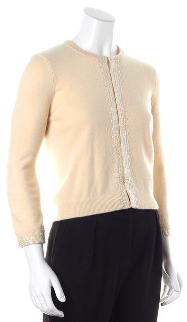 VINCE Ivory Sequin Cashmere Cardigan