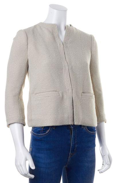 VINCE Beige Tweed Pocket Front Hook & Eye Closure Basic Jacket