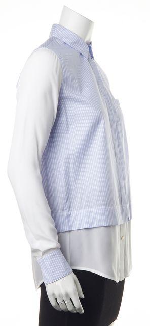 VINCE Blue Striped Button Down Layered Shirt Blouse