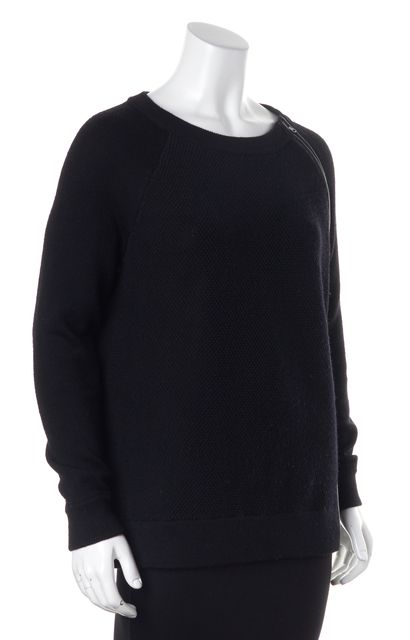 VINCE Black Wool Leather Trim Chunky Knit Long Sleeve Crewneck Sweater