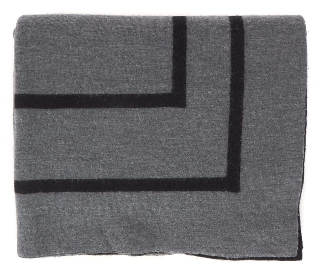 VINCE Gray Black Geometric Intarsia Oversized Knit Winter Scarf