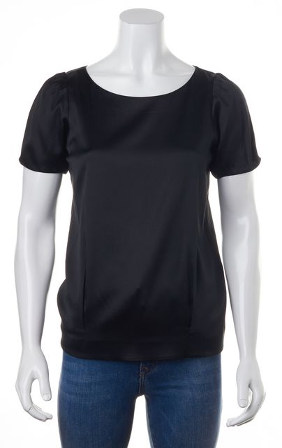 VINCE Black Silk Short Sleeve Top