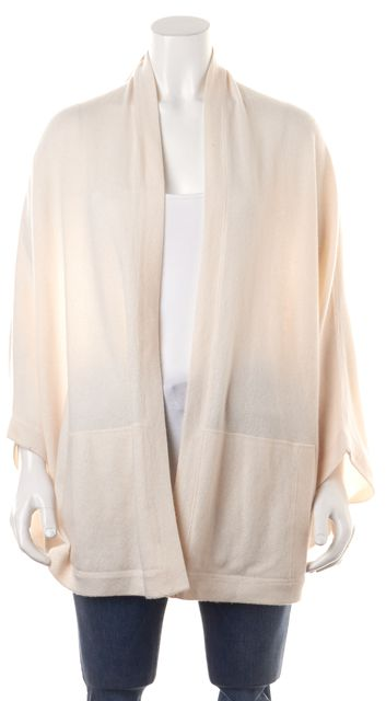 VINCE Ivory Cashmere Long Open Batwing Cardigan Sweater w Pockets