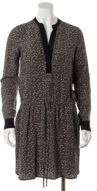 VINCE Black Gray White Beige Geometric Print Silk Blouson Dress