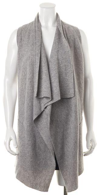 VINCE Gray Open Drape Wool Knit Sleeveless Cardigan Sweater Vest