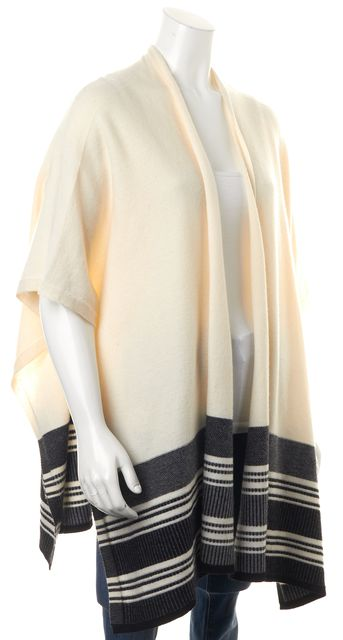 VINCE Ivory Black Gray Striped Poncho Style Open Cardigan Sweater