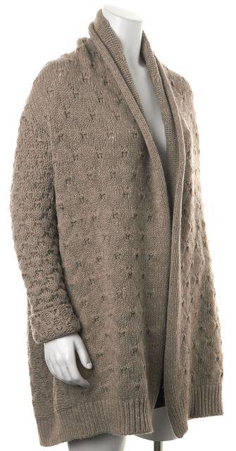 VINCE Beige Oversized Wool Knit Open Drape Cardigan Sweater