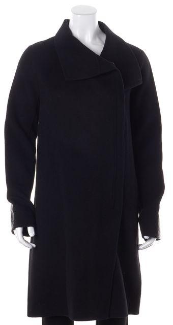 VINCE Black Wool Leather Trim Mock Neck Zip-Up Basic Coat