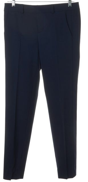 VINCE Navy Blue Wool Blend Cropped Pleated Trouser Dress Pants