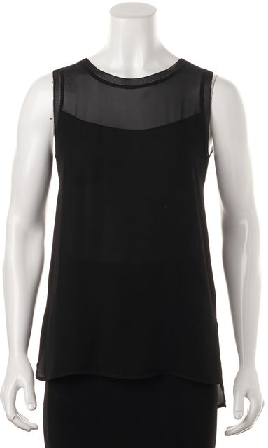 VINCE Black Silk Sleeveless Semi Sheer Summer Blouse