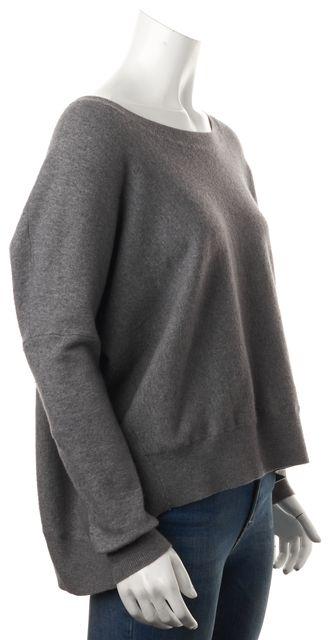 VINCE Gray Wool Blend Long Sleeve Oversized Crewneck Sweater
