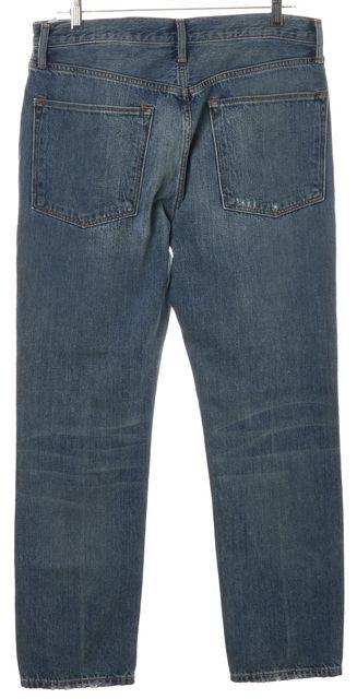 VINCE Blue Distressed High Rise Slim Straight Leg Jeans