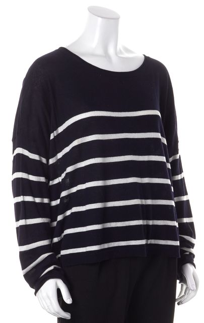 VINCE Navy White Striped Boat Neck Sweater