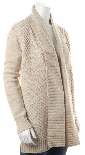 VINCE Ivory Wool Open Drape Chunky Knit Cardigan Sweater
