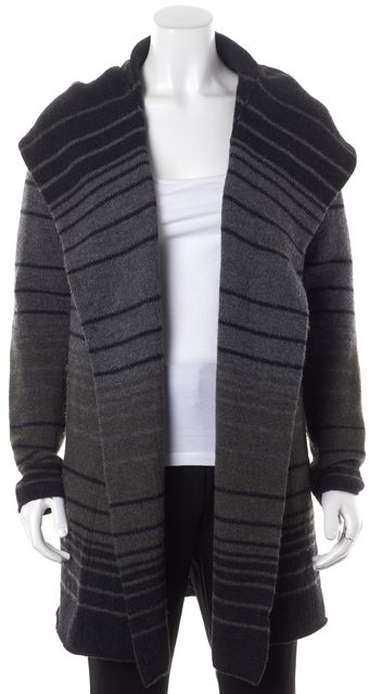 VINCE Brown Gray Black Striped Wool Sweater Jacket Sweater Coats