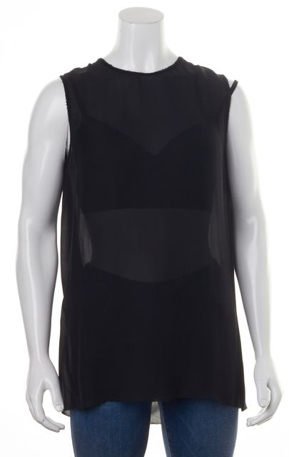 VINCE Black Silk Bead Trim Embellished Sleeveless Relaxed Fit Blouse Top