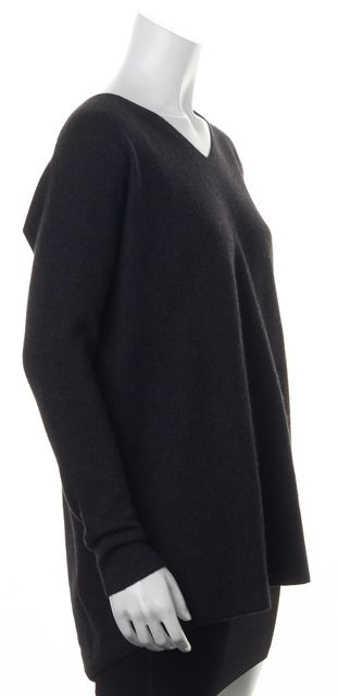 VINCE Gray Wool Knit Relaxed Fit Oversized V-Neck Long-sleeve Sweater