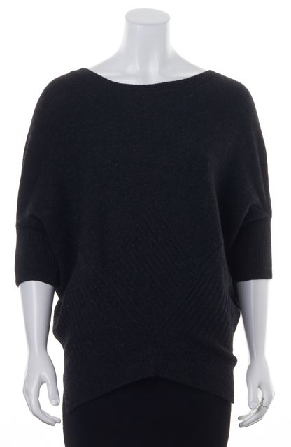 VINCE Charcoal Gray Chunky Knit Wool Dolman Sleeve Oversized Tunic Sweater