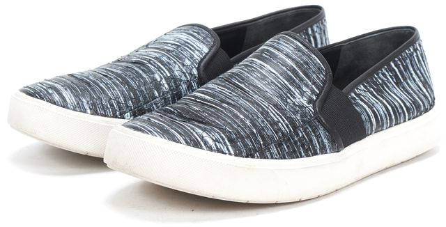 VINCE Black Gray Striped Leather Slip On Sneakers