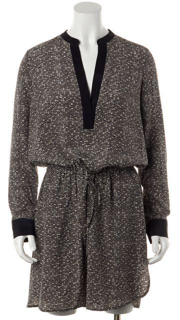 VINCE Black Gray Geometric Print Silk Blouson Dress