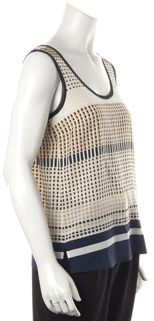 VINCE Multi-Color Abstract Silk Tank Top