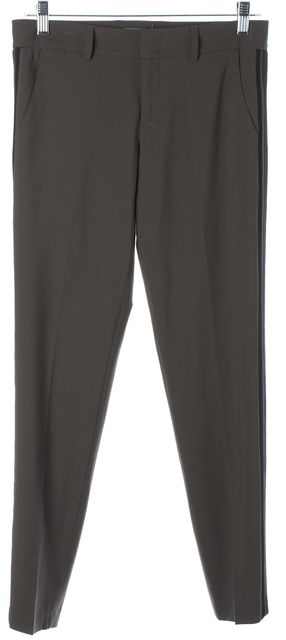 VINCE Taupe Gray Black Wool Double Stripe Side Panels Slim Trousers Pants