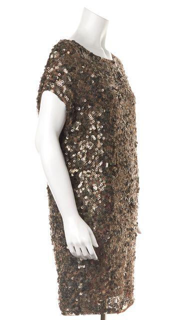 VINCE Brown Metallic Sequin Embellished Formal Shift Dress