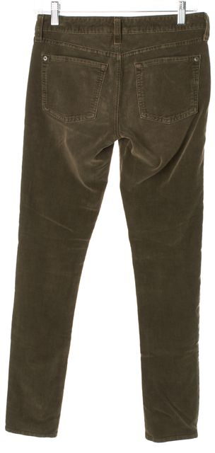 VINCE Green Dark Taupe Vintage Cord Skinny Corduroys Pants