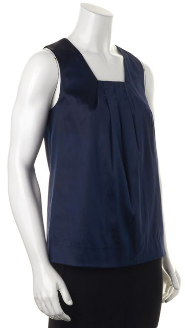 VINCE Navy Blue Silk Sleeveless Square Neck Pleated Blouse Top