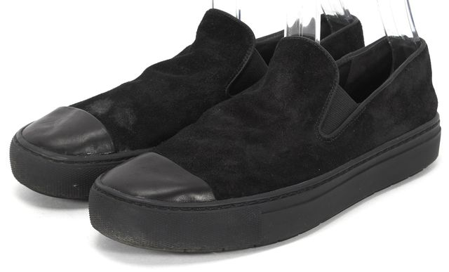 VINCE Black Suede Slip On Leather Cap Toe Platform Sneakers