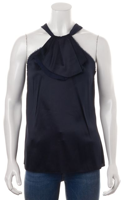 VINCE Navy Blue Silk Frayed Hem Ruffled Pleated Halter Blouse