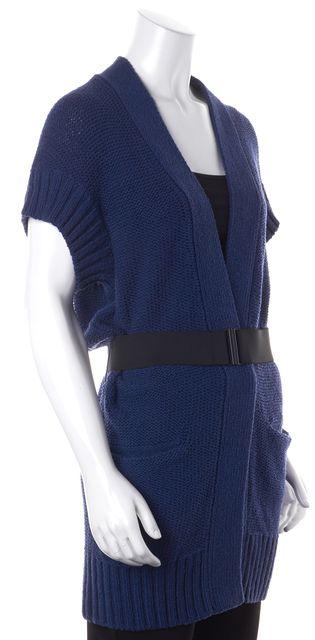 VINCE Blue Black Cotton Short Sleeve Pocket Front Belted Cardigan