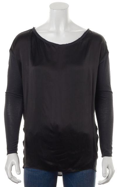 VINCE Gray Silk Long Sleeve Oversized Scoop Neck Sweater