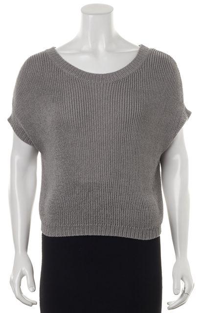 VINCE Gray Dolman Sleeve Open Knit Crewneck Sweater