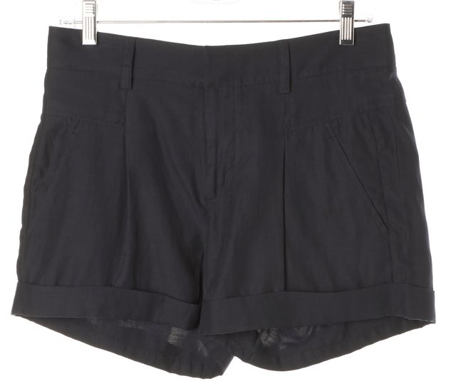 VINCE Navy Blue High Waisted Cuffed Hem Pleated Casual Shorts