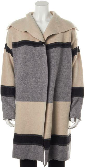 VINCE Gray Beige Black Colorblock Wool Cardigan