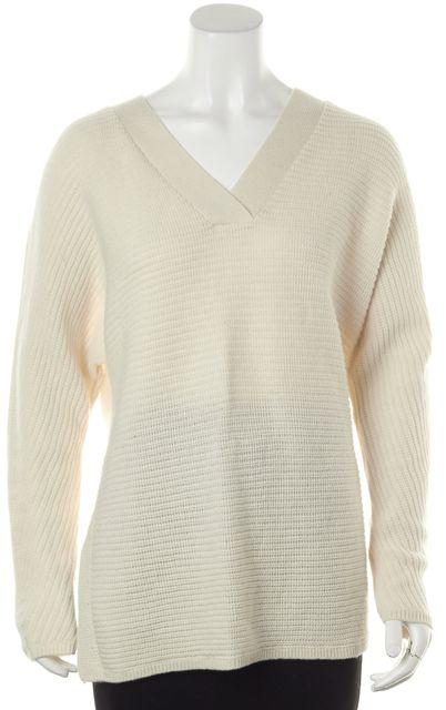 VINCE Ivory Wool V-Neck Sweater