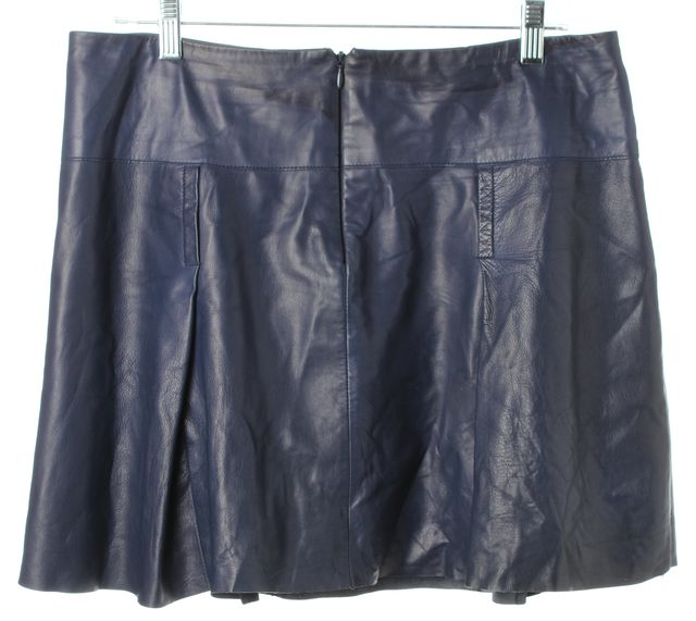 VINCE Navy Blue Leather Pocket Front Pleated A-Line Skirt