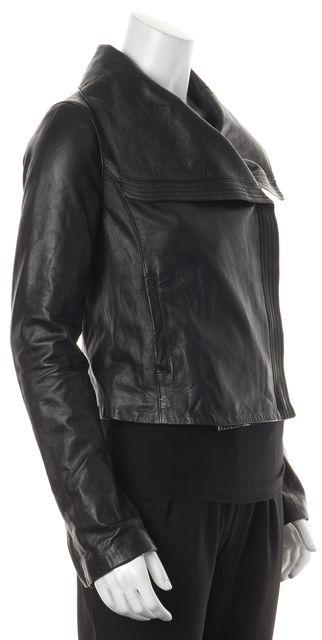 VINCE Black Leather Funnel Neck Zip-Up Cropped Basic Jacket