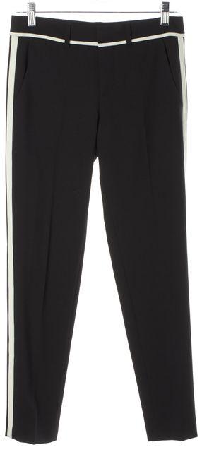VINCE Black Ivory Panels Wool Pleated Slim Leg Trousers Pants