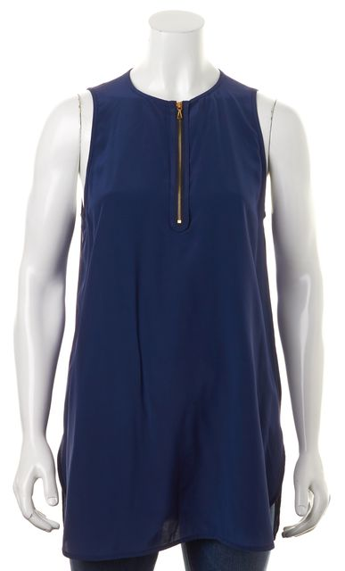 VINCE Blue Silk Zip Front Sleeveless Pleated Back Blouse Top