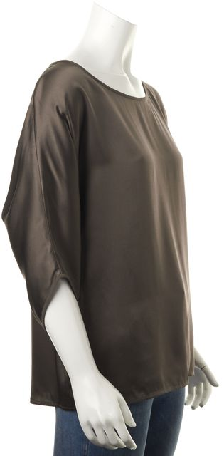 VINCE Olive Green Silk Scoop Neck Dolman Sleeve Blouse