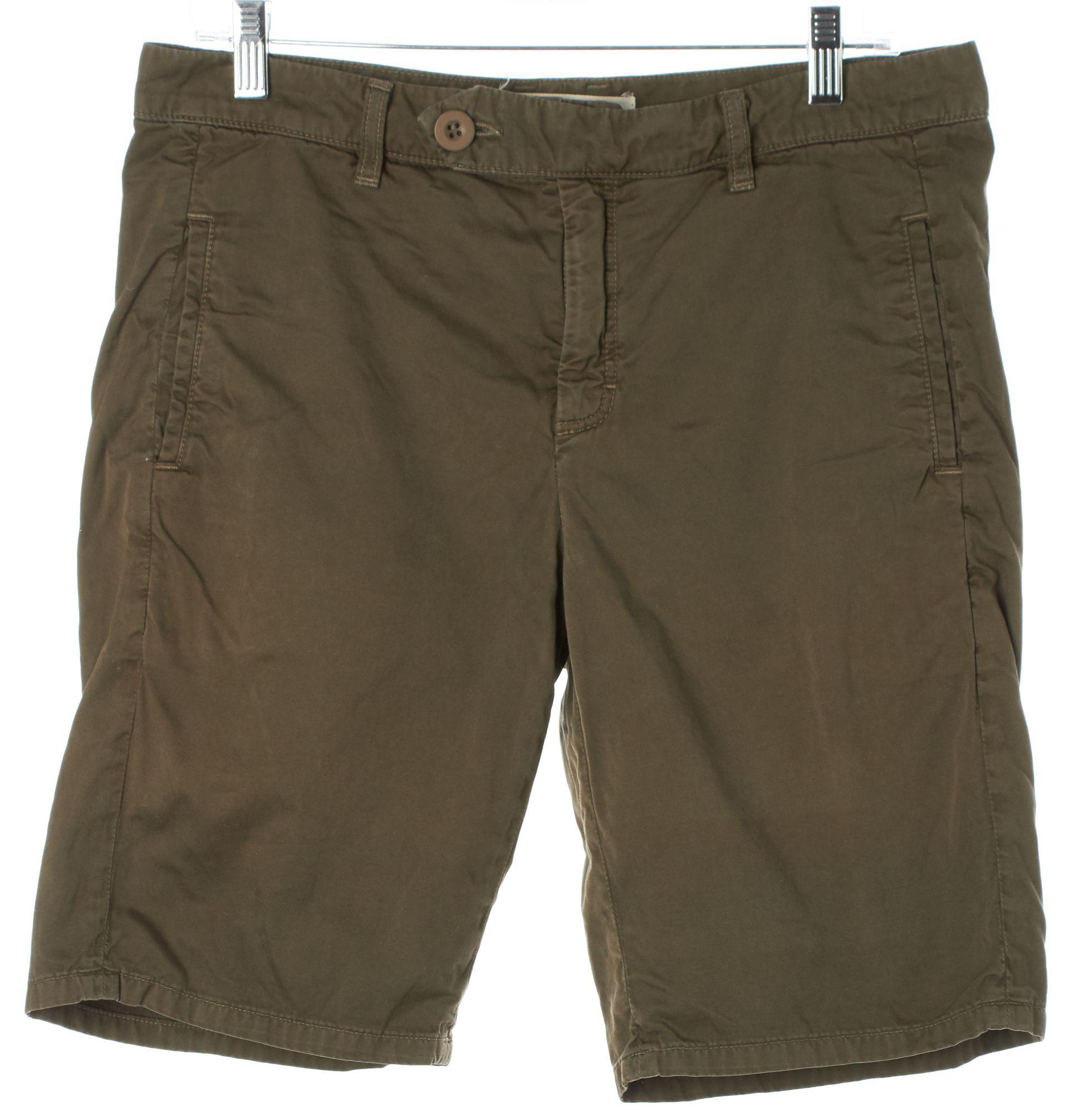 Vince Olive Green Cotton Bermuda Chino Shorts | Material World