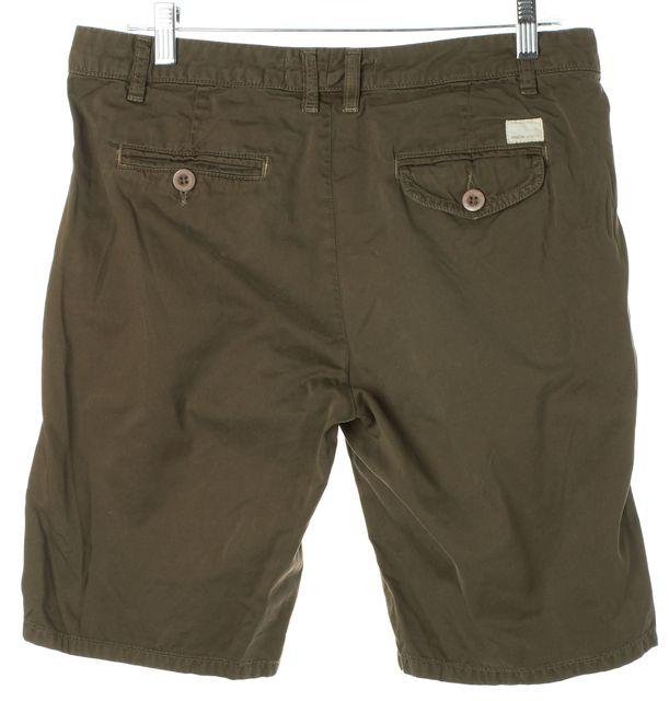 VINCE Olive Green Cotton Bermuda Chino Shorts
