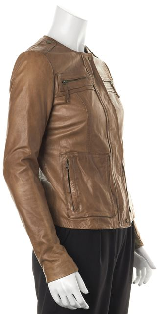 VINCE Brown Leather Wool Trim Pocket Front Zip-Up Basic Jacket