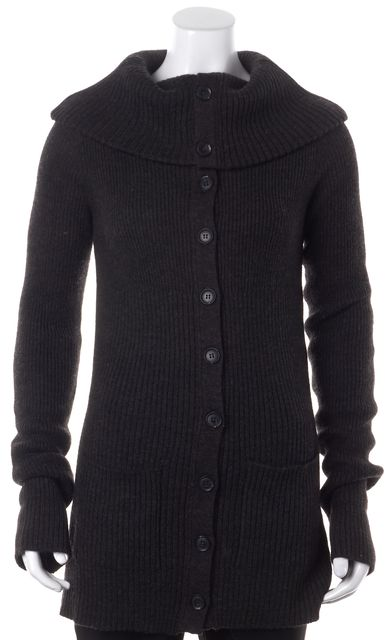 VINCE Gray Merino Wool Funnel Neck Button Front Cardigan Sweater
