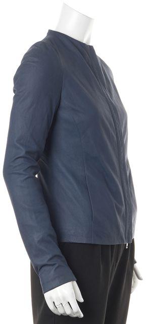 VINCE Navy Blue Leather Knit Trim Zip-Up Basic Jacket