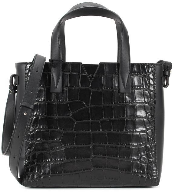 VINCE Black Crocodile Embossed Leather Adjustable Strap Crossbody