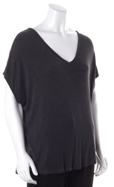 VINCE Gray Soft Jersey Relaxed Slouchy Fit V-Neck Basic Tee T-Shirt