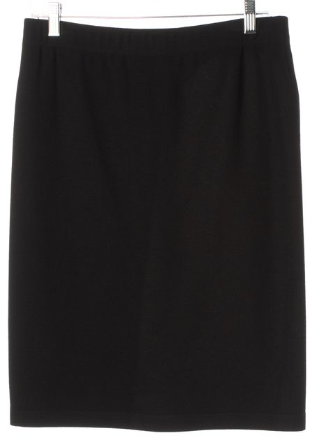 VINCE Black Knee-Length Stretch Straight Skirt